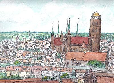 ポーランド・グダンスク風景( Mercure Hevelius Hotel からSt. Mary's Church を臨む)