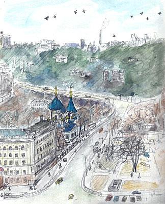 キシネフのインツーリスト・ホテルから見た街(1990年2月9日〜12日)