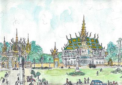 プノンペン王宮前広場