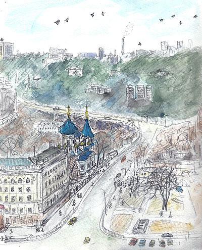 キシネフのインツーリスト・ホテルから見た街(1990.2.9〜12.)