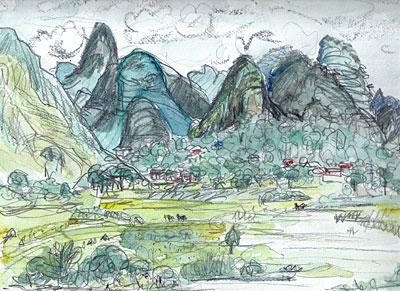 広州楊堤付近漓江6景の1(1996.8.19.)