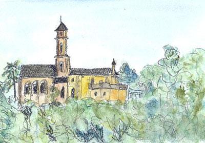 L'Abbbaye de St. Florent sur Loire 夕景 (2010.8.29.)