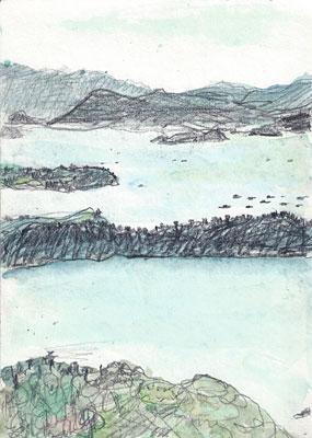 韓国木浦(モッポ)儒達山(ユーダルサン)から海を臨む?