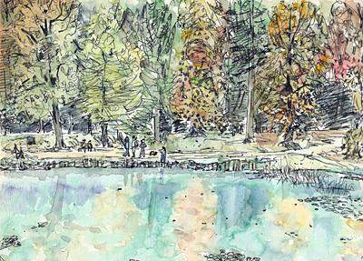 ヴィル・ダヴレ(パリ近郊)の池・晩秋の風景