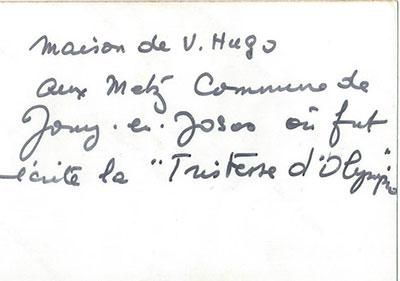 安本訳:「オランピオの悲しみ」を書いたジュイ・アン・ジョザスのメッス地区にある「ユゴーの家」