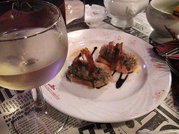 まぐろとホタテ貝のタルタル ベーコンの香り'料理の鉄人'